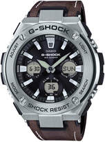 G-Shock Men's Solar Analog-Digital Brown Faux Leather Strap Watch 59mm GSTS130L-1A