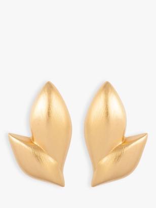 Susan Caplan Vintage Monet 22ct Gold Plated Leaf Stud Earrings, Gold