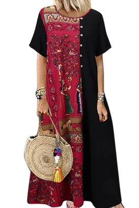 Zilcremo Women Vintage Dress Casual Loose Boho Long Retro Maxi Dresses Black XL