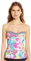 Anne Cole Women's This Bud's For You and Indigo Stripe Bandeau Tankini