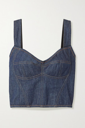 Dolce & Gabbana Stretch-denim And Mesh Bustier Top - Blue