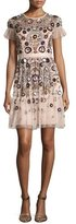 Needle & Thread Enchanted Floral-Embellished Short-Sleeve Gown