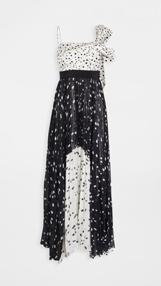 Silvia Tcherassi Salgar Polka Dot One Shoulder Gown