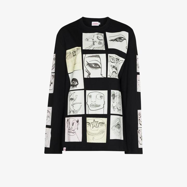 Charles Jeffrey Loverboy Black Digital Print Cotton T-Shirt