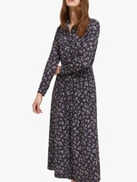 French Connection Felicienne Drape Shirt Dress, Utility Blue/Sweet Pea Multi
