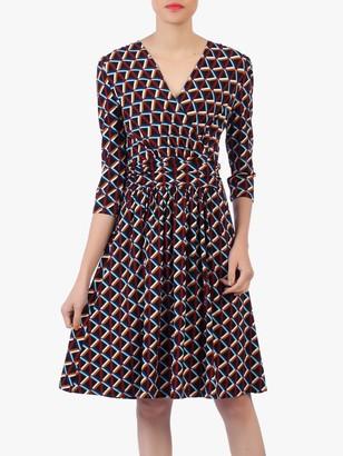 Jolie Moi Crossover Front Skater Dress, Blue/Multi