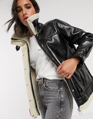 Topshop oversized vinyl coat in black
