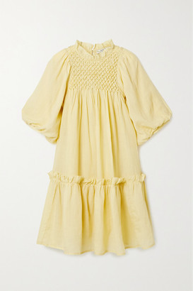 Sea Geneva Smocked Ruffled Ramie Mini Dress - Pastel yellow