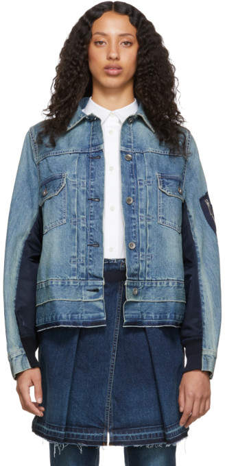 Sacai Blue and Navy Denim Nylon Back Jacket