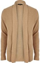 River Island Mens Light brown textured knitted cardigan