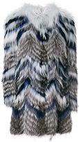 Yves Salomon striped fur coat - women - Fox Fur/Spandex/Elastane/Viscose/Marmot Fur - 38