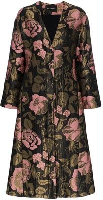 Etro Long Floral Belted Jacquard Coat