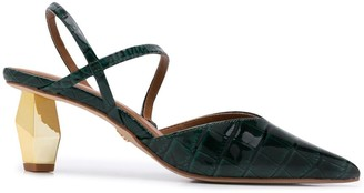 Kurt Geiger Della croc-embossed slingback sandals