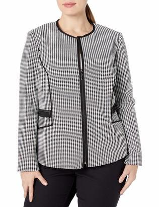 Kasper Women's Plus Size Knit Houndstooth Zipper Front Jacket