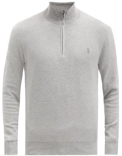 Polo Ralph Lauren Logo-embroidered Cotton-pique Zip-neck Sweatshirt - Grey