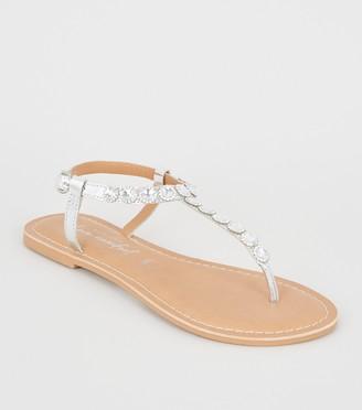 New Look Leather Diamante Toe Post Sandals