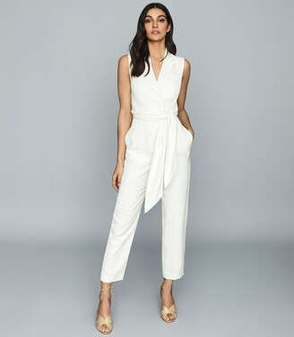 Reiss Romy - Wrap-tie Tailored Jumpsuit in White