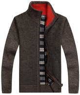 Shengweiao Men's Zip Knitted Cardigan Sweater Size Us L