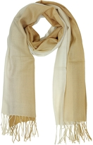 Mila Schon Gradient Beige/Camel Wool and Cashmere Fringed Stole