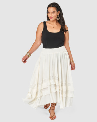 The Poetic Gypsy - Women's White Maxi skirts - Frontier Maxi skirt - Size One Size, 14 at The Iconic