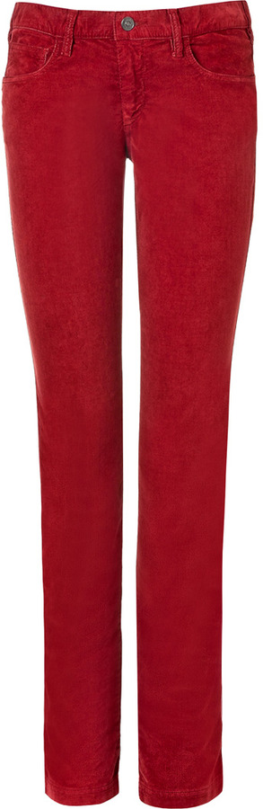See by Chloe Flame Red Straight Leg Corduroy Pants