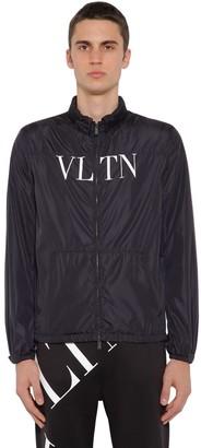 Valentino Vltn Print Hooded Nylon Wind Jacket