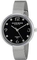 Akribos XXIV Women's AK875SSB Silver-Tone Watch with Diamond Markers
