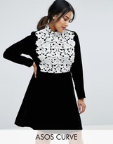 Asos Contrast Lace And Velvet Flippy A Line Dress