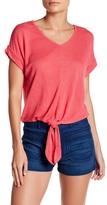 Bobeau Short Sleeve Tie Front Shirt (Petite)