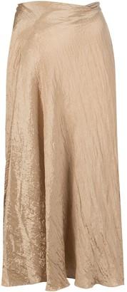 Vince Crinkled Metallic Midi Skirt