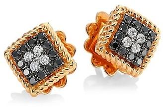 Roberto Coin Palazzo Ducale 18K Rose Gold, Black & White Diamond Stud Earrings