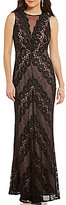 Morgan & Co. High Neck Illusion-Inset Mitered Lace Long Dress