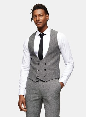 Topman HERITAGE Grey Skinny Fit Double Breasted Suit Waistcoat