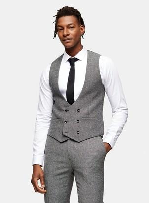 TopmanTopman HERITAGE Grey Skinny Fit Double Breasted Suit Waistcoat