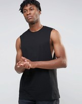 Asos Longline Sleeveless T-Shirt With Dropped Armhole In Black