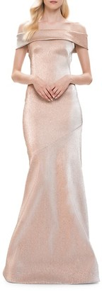 Theia Glitter Off-The-Shoulder Mermaid Gown