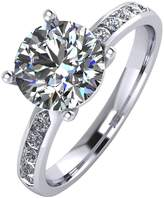 Moissanite Platinum 2.3 Carat Solitaire Ring With Stone Set Shoulders