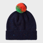 Paul Smith Women's Navy Flecked-Wool Bobble Hat
