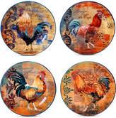 Certified International Rustic Rooster Set of 4 Dessert Plates