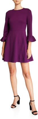 Kate Spade Bell-Sleeve Ponte Skater Dress