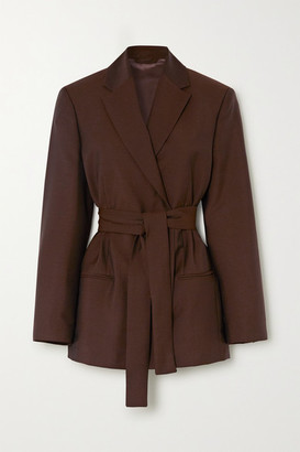 Acne Studios Belted Double-breasted Wool And Mohair-blend Blazer - Brown
