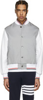 Thom Browne Grey Cotton and Leather Varsity Jacket