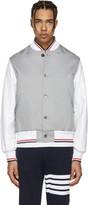 Thom Browne Grey Cotton & Leather Varsity Jacket