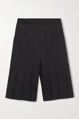 Victoria Beckham Pleated Wool Shorts - Black