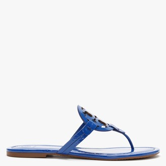 Tory Burch Miller Logo Nautical Blue Leather Toe Post Sandals