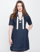ELOQUII Plus Size Lace Up Denim Dress
