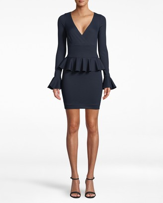 Nicole Miller Long Sleeve Ponte Peplum Dress