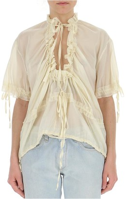 DSQUARED2 Gathered Sheer Blouse
