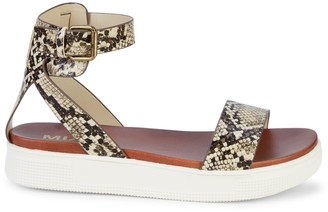 Mia Ellen Python-Embossed Flatform Sandals