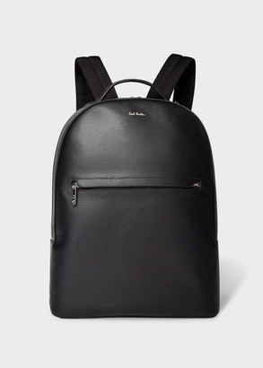 Paul Smith Men's Black Embossed Leather Backpack With 'Bright Stripe' Trims